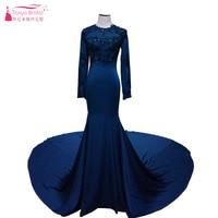 멋진 블루 인어 이브닝 드레스 긴 소매