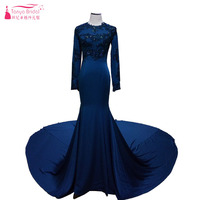Fancy Blue Mermaid Evening Dresses Long Sleeve Amazing Long Train Ceremony Prom Dresses Lady Luxury Muslim Dresses ZD002