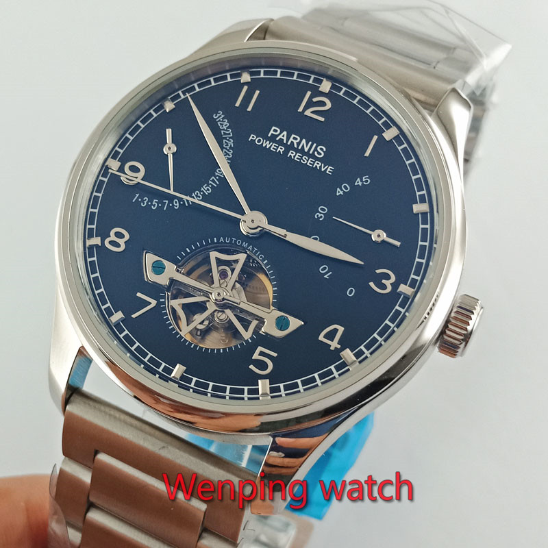 Parnis 43mm stainless Steel Strap Power Reserve Asia 2505 Automatic Men s Watch W2642