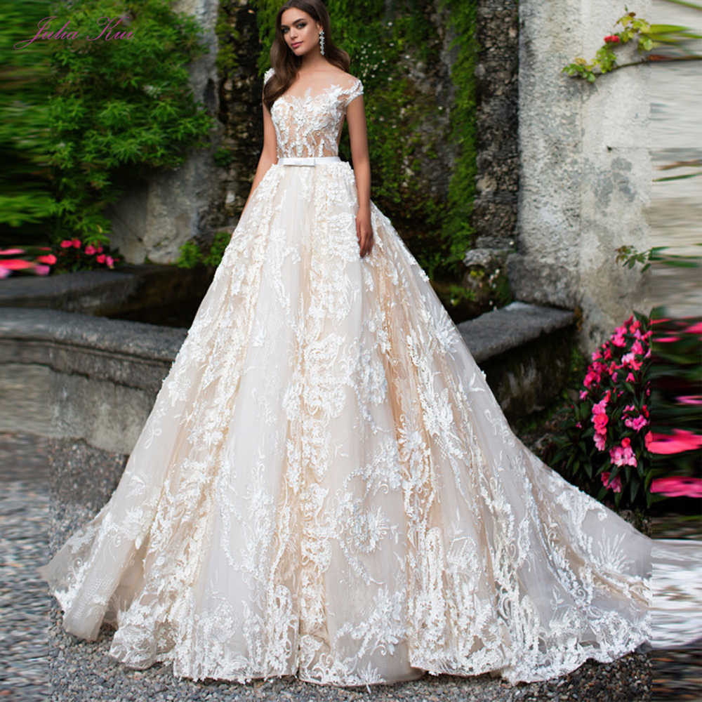 luxurious Whole Appliques Tulle Scoop Wedding Dress Floral Print Sleeveless Illusion Back A-Line 2 In 1 Bride Dress Customize