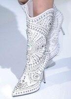 Белые женские сапоги до середины икры высокого качества с острым носком и заклепками, высокие сапоги до бедра с металлическим каблуком, жен