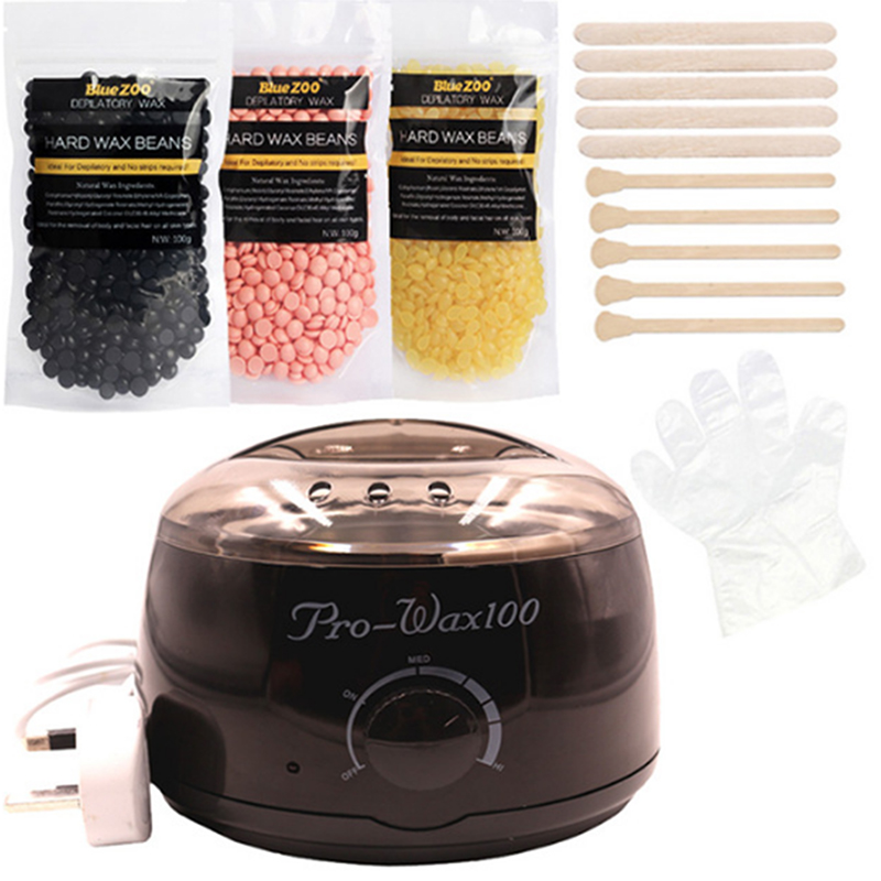 Brazilian Physical painless Hair Removal Wax Heater Machine Kit No Strips Depilatory Wax Beans Bikini Whole