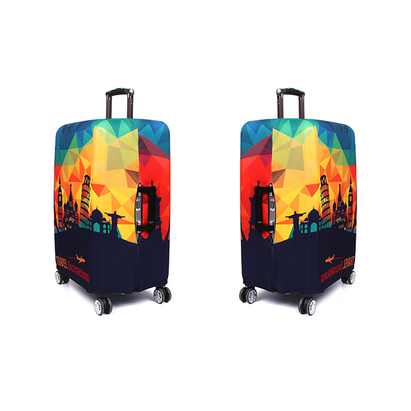 Rainbow Background Art Elastic Travel Luggage Cover,Double Print Fashion Washable Suitcase Protector Cover Fits 18-32inch Luggage