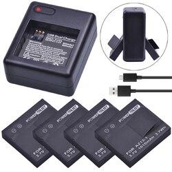 PowerTrust 4x 1010mAh AZ13-1 AZ13 Li-ion Battery + Dual USB Charger For xiaomi yi 1 Action Camera Xiaomi YI AZ13 1 batteries