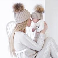 2PCS Set Family Infant Winter Knit Crochet Caps Faux Fur Beanie Hat Mother Daughter Son Baby