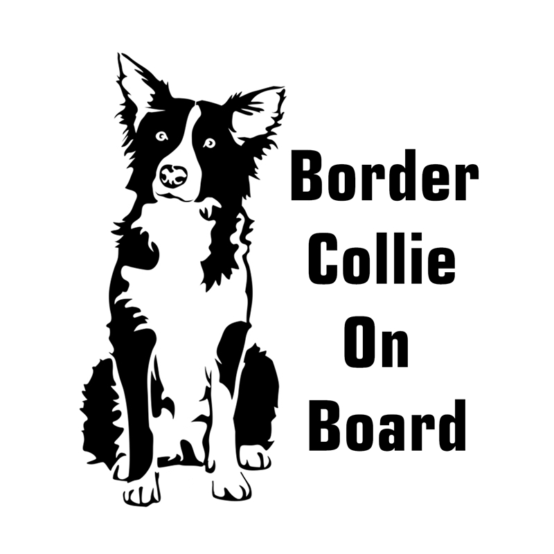 Three Ratels TZ-1200 17.1*15cm 1-4 Pieces Border Collie On Board Car Sticker Car Stickers Auto Decals Removable