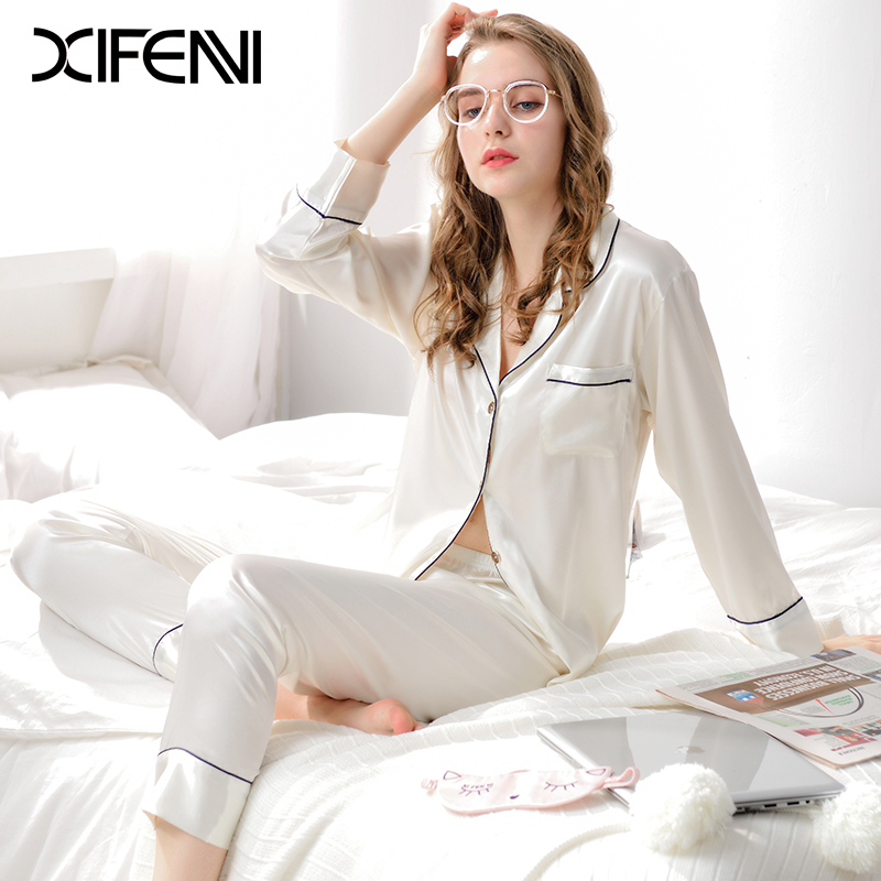 Xifenni Pajamas Faux Silk Sleepwear Women Satin SILK Pyjama Sets Female  Pure Color Long Sleeve Casual Simple Home Clothing 1702-in Pajama Sets from  ... b0aa1eda1