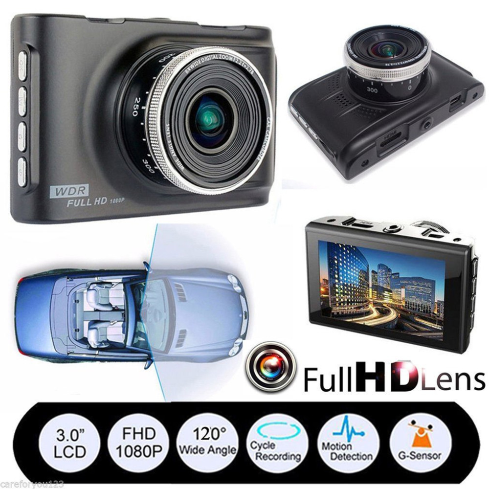 1080P Full HD 3.0 Inches Display Car DVR 120-Degree Wide Angle Dash Camera G-Sensor Video Cam Night Vision Car Recorder