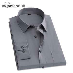 15d315a24a4 unisplendor Slim Men Dress Shirts Long Sleeve Male Casual