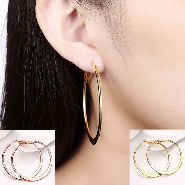 c5bde7965 Large Round Big Round Hoop Earring For Women Trendy Gold / Rose Gold /  White Gold Color Fashion Jewelry Flat Large Hoop Earrings