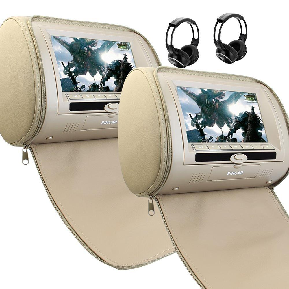 Beige Dual DVD/USB/SD Car Headrest Monitors LCD Display Digital Screen DVD Player Headrest 2Video Game Control 2IR Headphones 5 way pilot solenoid valve sy3220 3d 01