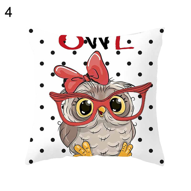 45 45cm Cartoon Cushion Cover Owl Family Print Pillow Case Bird Polyester Throw Pillow Cover Decoration For Home Office in Cushion Cover from Home Garden