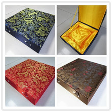 High End Soft Square Collection Dish Plate Box Chinese Wood Packaging Silk Fabric Large Storage Decoration Multi size