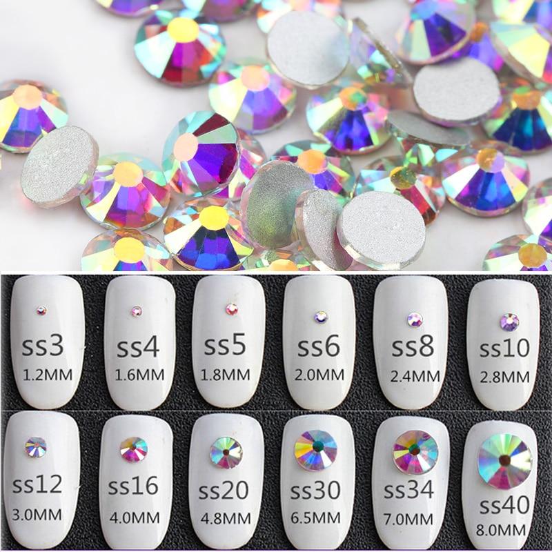 QIAO Glitter Rhinestones Crystal AB SS3-SS40 Non Hot Fix FlatBack - Konst, hantverk och sömnad - Foto 2
