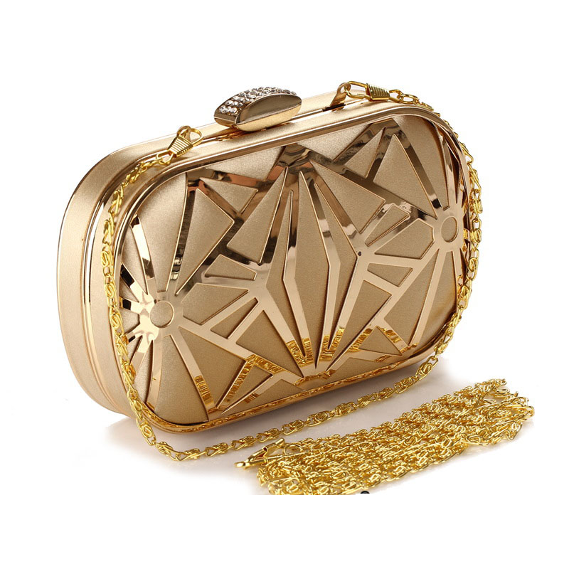 Women Gold Bags Clutches Crystal Evening Bags Purse Factory Price Golden Clutch Bag Black Small Handbag 3030