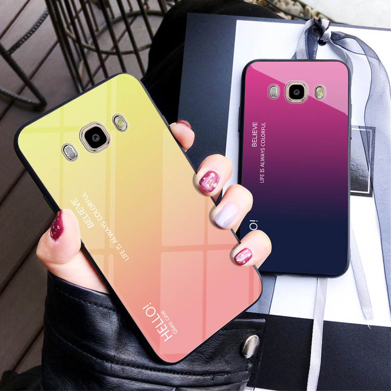 For <font><b>Samsung</b></font> <font><b>Galaxy</b></font> J7 <font><b>J5</b></font> <font><b>2016</b></font> <font><b>Case</b></font> Luxury Hard Tempered Glass Gradient Protect Back <font><b>Cover</b></font> <font><b>case</b></font> For <font><b>samsung</b></font> j7 <font><b>2016</b></font> J710 J510 image