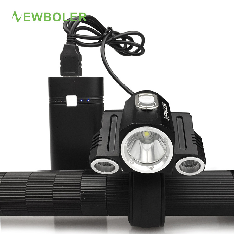 NEWBOLER Headlamp 3-Mode USB Bike Light Front Bicycle Headlights + Battery Light Bicycle 3x XM-L U2 LED 950lm 3 mode white bicycle headlamp w cree xm l t6 black silver 2 x 18650