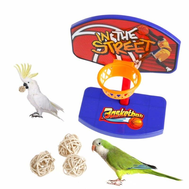 Pet Bird Chew Toys Parrot Parakeet Basketball Hoop PropTrick Prop+ 3pcs Balls P101