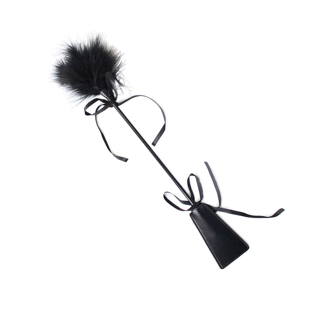 Double Used <font><b>Spanking</b></font> Whip Feather Tickler PU Leather Sex Black Flogger Adult Paddle <font><b>Dress</b></font> Fancy Sex Toys for Couple image