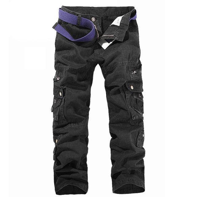 Sólida 2017 Novos homens Militar Do Exército de Carga Calças de Algodão Homens Calças Casuais Calças Multi-bolso 5 Cores Da Moda