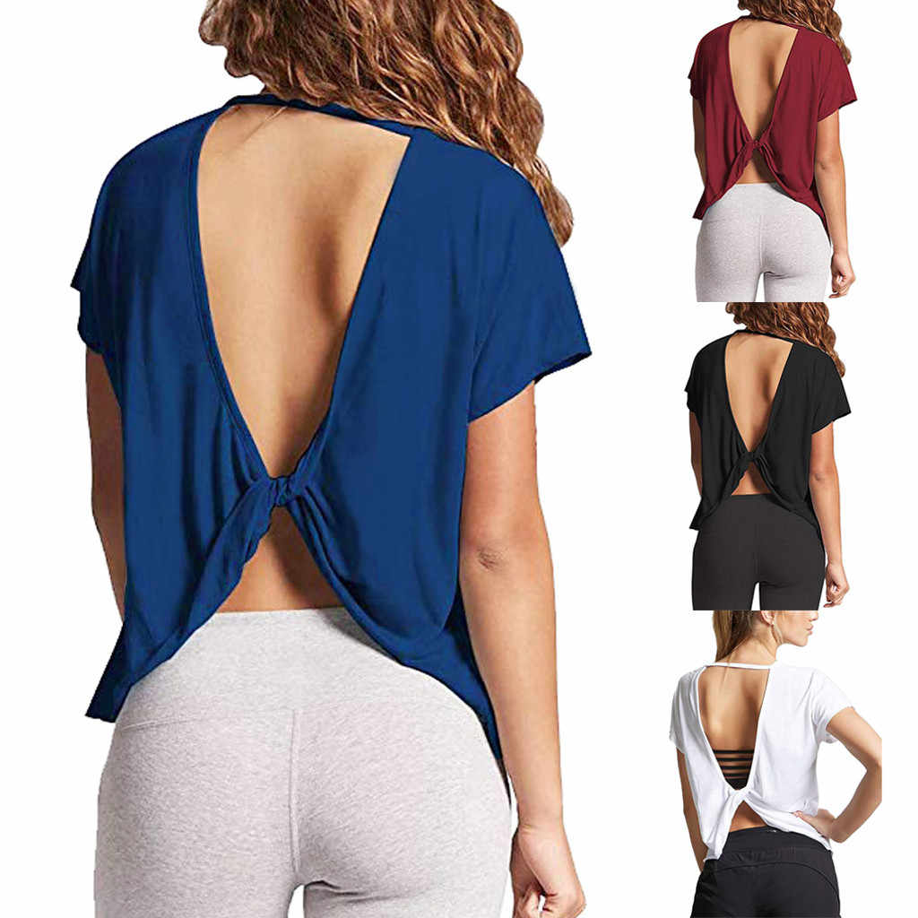 Summer Elegant New Arrivals Women Sexy Backless Short Sleeve Loose Tops Open Back Knot Casual Korean Style Shirt