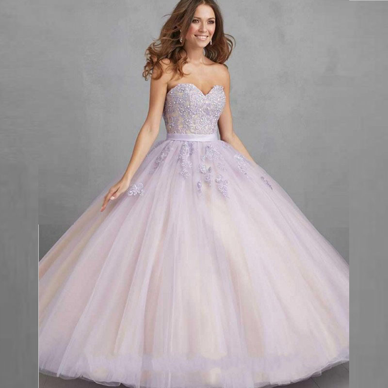 Floor Long Sweetheart Appliques Beaded Tulle Sweet 16 Dress for Party Lilac Quinceanera Dresses vestido de 15 anos de debutante