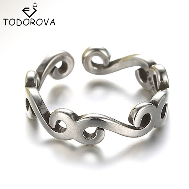 Todorova Real Pure 925 Sterling Silver Long Rattan Knuckle Toe Finger Ring Women