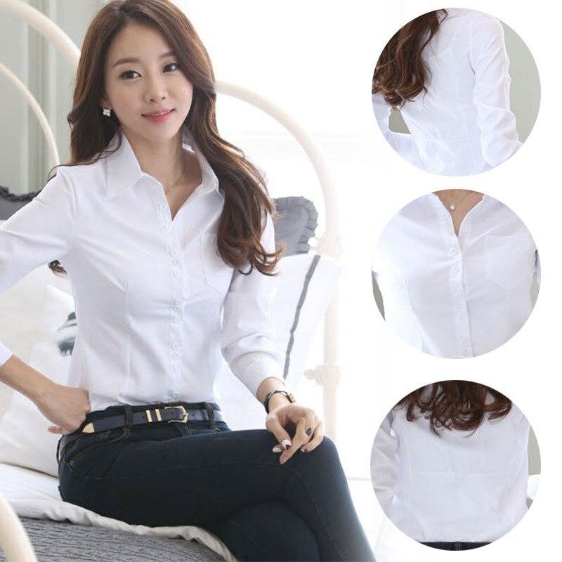 2 Casual Manga Slim Camisa Blanca Mujeres Manera 3 Tops Blusa 1 Formal La De Señora Oficina Larga Zw1TwxFqC