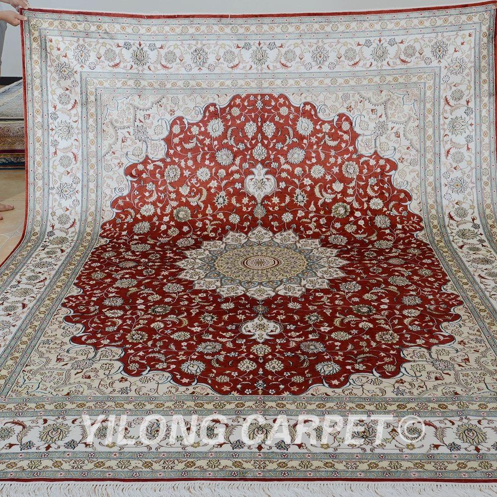 Yilong 8 X10 Fait Main En Soie Persan Tapis Antique Rouge Tapis De