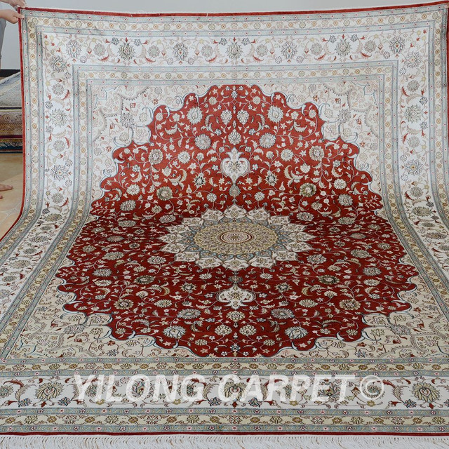 Yilong 8 X10 Handmade Silk Persian Rugs Antique Red China Carpet Price