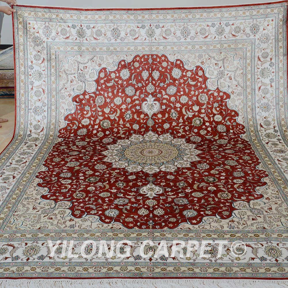 Handmade Silk Persian Rugs Antique Red