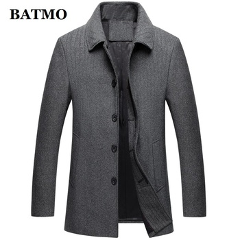 BATMO 2019 new arrival autumn&winter high quality wool casual trench coat men,men's wool coat,plus-size M-4XL W1302