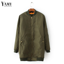 7add9b26d7206 Winter long jackets and coats 2017 winter female coat casual military olive  green bomber jacket women