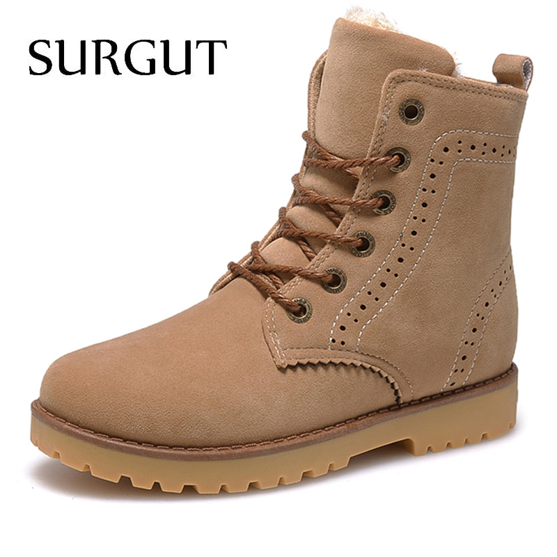 SURGUT Brand 2019 Fashion Winter Shoes For Men Suede Pu Leather Snow Men Boots High Quality Comfy Casual Shoes Men Size 35-44