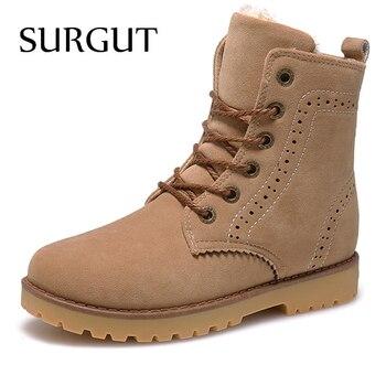 Surgut 브랜드 2019 패션 겨울 신발 남자 스웨이드 pu 가죽 스노우 남자 부츠 고품질 편안한 캐주얼 신발 남자 크기 35-44
