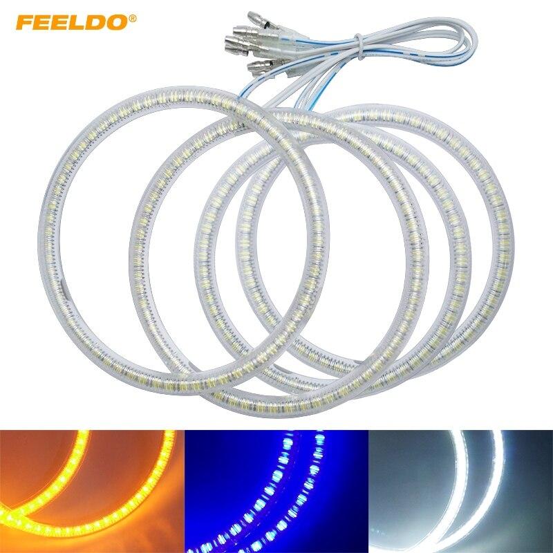 FEELDO 4Pcs/Set Auto SMD Angel Eyes Light Halo Ring For Lada Priora Headlight Lamp