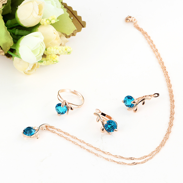 Fashion vintage necklace earrings Ring wedding bridal jewelry sets for women Blue african crystal beads Wedding jewelry set