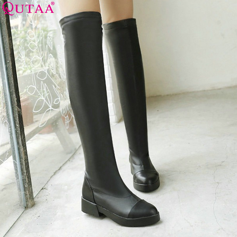 ФОТО QUTAA Hot Sale Women Boots PU Leather Boots Autumn Knee-High Boots Med Heels Motorcycle Boots Fashion Shoes size 34-39