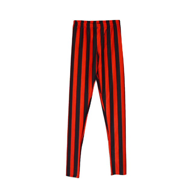 Classic yellow and red bars was thin lady pants female black rosy red  striped leggings pants - Popular Black Yellow Leggings-Buy Cheap Black Yellow Leggings Lots
