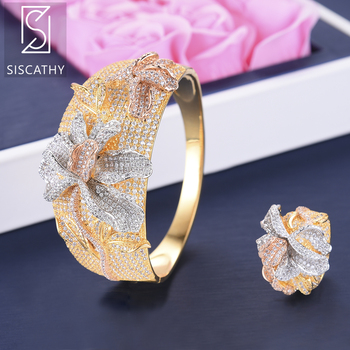 SISCATHY Classic Wide Band Bracelet Ring Jewelry Sets Full Cubic Zirconia Flower Shape Inlaid Nigerian Wedding Jewelry Sets 2019