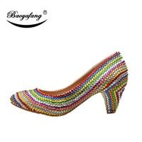 BaoYaFang multicolor crystal Round toe womens wedding shoes 6cm heel fashion shoes ladies bridal dermic sole pumps