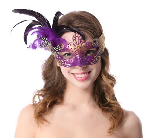 Free Shipping Purple Venetian Mask For The Princess With The Feather