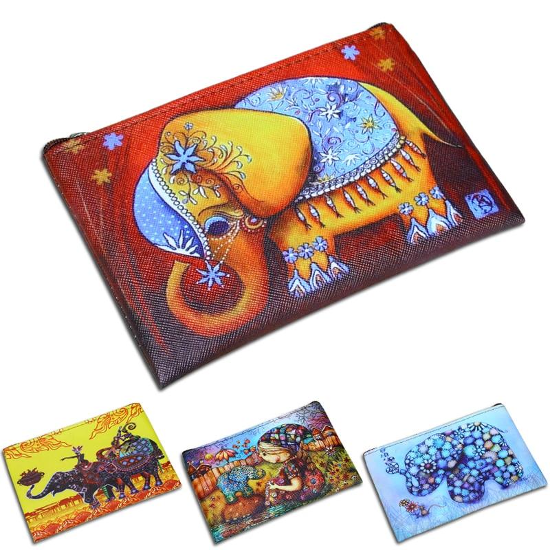 Women Wallets Elephant Prints Zipper Coin Purse Lady Change Purses Cards Keys Money Bags Pocket Cartoon Girls Zero Wallet Bag