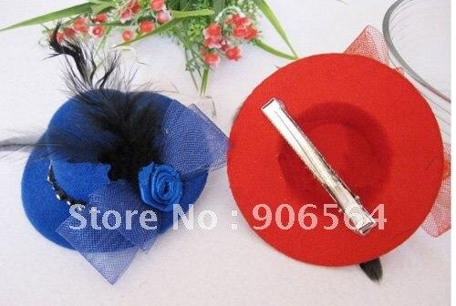 Миниатюрная Шляпа заколка для волос аксессуары Дамская Коктейльная дамская шляпа шляпы смешанных цветов MSJ03 12 шт/партия
