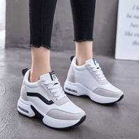 Height Increasing Warm Comfortable High Sole Lace Up Korean Style Winter Spring Autumn Flat Platform Casual Women Sneakers