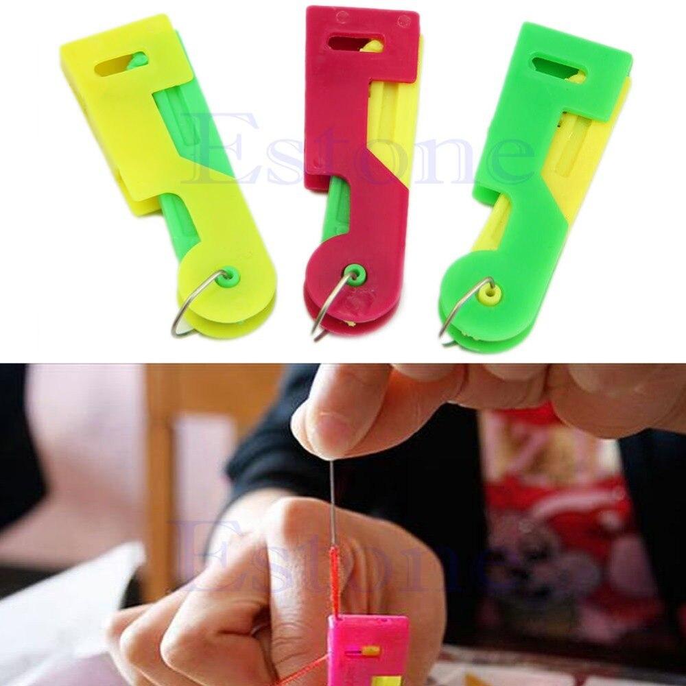 E74 2Pcs Elderly Use Automatic Needle Threader Thread Guide Elder Use Needle Device Sewing Machine Punch Needle Tool