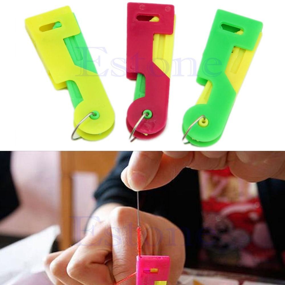 E74 2Pcs Elderly Use Automatic Needle Threader Thread Guide Elder Use Needle Device Sewing Machine Punch Needle Too