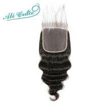 עלי גרייס שיער ברזילאי Loose גל 5*5 התיכון חלק סגירת 120% גורל שוויצרי תחרה 8 22 אינץ רמי שיער טבעי צבע טבעי