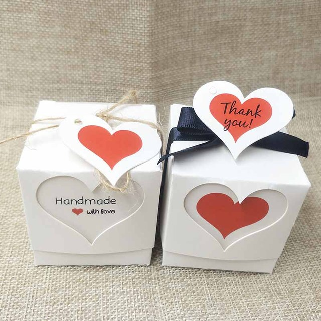 Fashion Handmade Gift Package Box White Kraft Cute Thank You Label