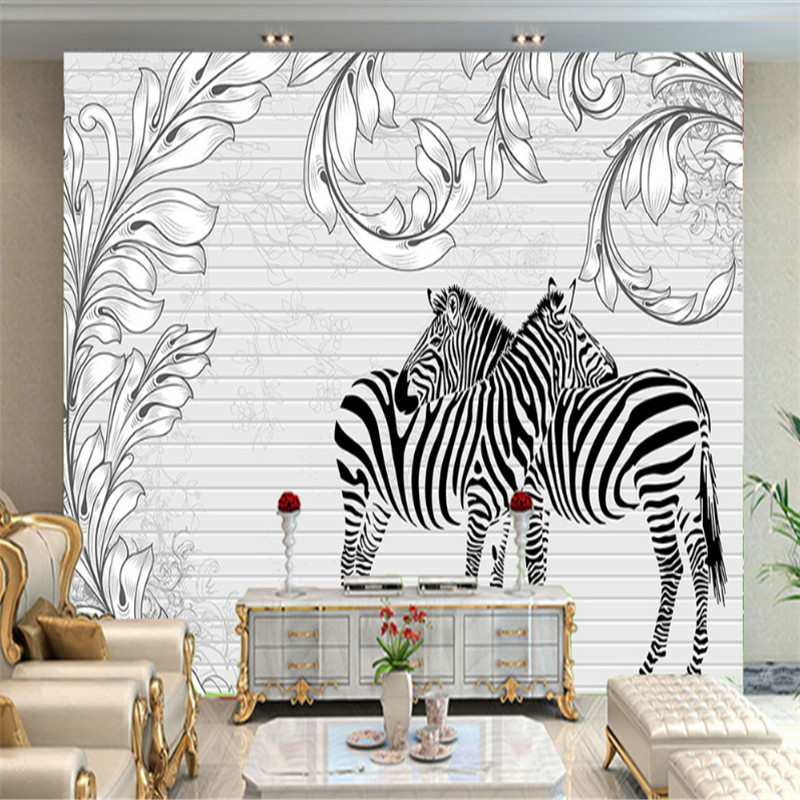 custom 3d photo non-woven wallpaper wall mural 3d wallpaper European style animal zebra living room background wall home decor  custom 3d poster photo wallpaper non woven flower sea tulip hot air balloon living room sofa wall home decor mural wallpaper 3d